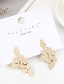 Fashion 14k Gold Gold-plated Leaf Geometry Earrings