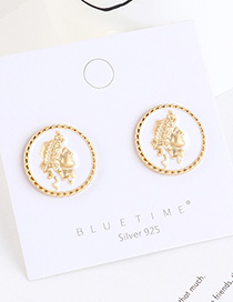 Fashion White Gold-plated Head Seal Round Earrings