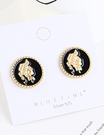 Fashion Black Gold-plated Head Seal Round Earrings