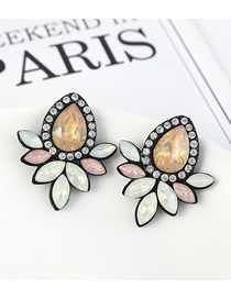 Fashion Pale Yellow Geometrical Drop Earrings With Diamonds And Crystal Flowers