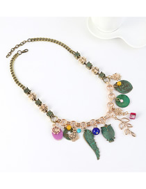 Fashion Green Owl Wings Leaves Flowers Spider Web Necklace