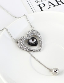 Fashion Platinum + Black Diamond Love Beaded Sweater Chain