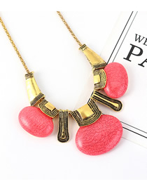 Fashion Pink Resin Geometric Necklace