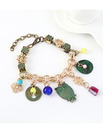 Fashion Green Owl Resin Flower Geometric Bracelet