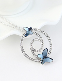 Fashion Denim Blue Diamond And Butterfly Double Cutout Geometric Necklace