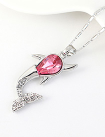 Fashion Rose Red Small Whale Necklace With Diamonds