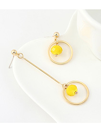 Fashion Yellow Gold-plated Resin Circle Cutout Stud Earrings