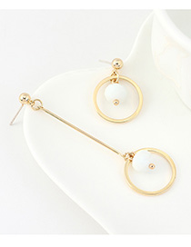 Fashion White Gold-plated Resin Circle Cutout Stud Earrings