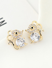Fashion 14k Gold Diamond Stud Earrings With Zircon