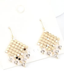 Fashion 14k Gold + Gray  Silver-pin Crystal Glass Fringed Earrings