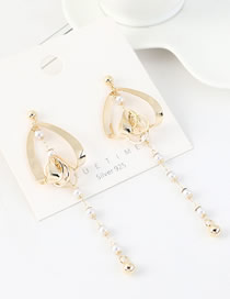 Fashion 14k Gold S925 Silver-plated Real Gold Tassel Long Peach Heart Pearl Earrings