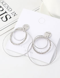 Fashion Platinum S925 Silver Pin Rhinestone Plated Large Circle Hollow Earrings