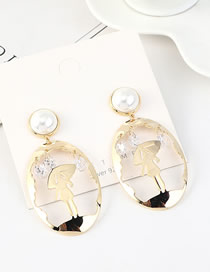 Fashion 14k Gold  Silver-plated Pearl Earrings