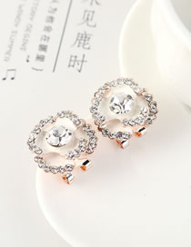Fashion 14k Gold Gold-plated Flower Stud Earrings With Rhinestones