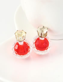 Fashion Red Small Crystal Crystal Stud Earrings