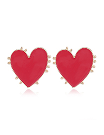Fashion Red Metal Contrast Dripping Love Stud Earrings