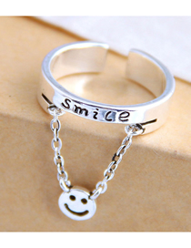 Fashion Silver Alphabet Smiley Chain Open Ring