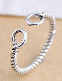 Fashion Silver Geometric Round Openwork Winding Open Ring