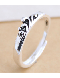 Fashion Silver Wave Geometric Open Ring