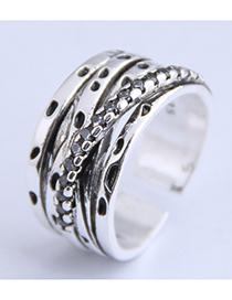 Fashion Silver Cross Geometry Openwork Ring