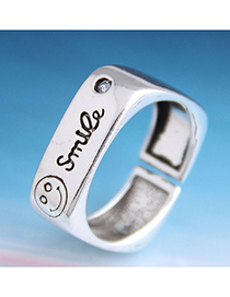 Fashion Silver Smiley Letter Geometric Open Ring