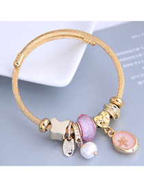 Fashion Pink Resin Starfish Pearl Butterfly Bracelet