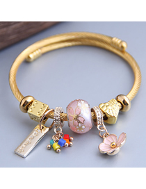 Fashion Pink Diamond Bracelet With Dripping Flowers And Diamonds