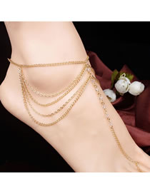 Fashion Golden Tassel Chain Crystal Beads Multi-layer Anklet