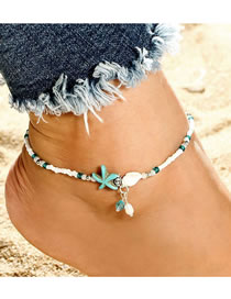 Fashion White Seashell Pearl Woven Rice Pearl Anklet
