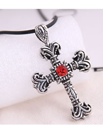 Fashion Silver Cross And Diamond Embossed Mens Necklace