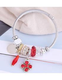 Fashion Red Diamond Clover Alloy Geometric Bangle