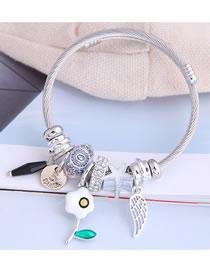 Fashion White Droplet Oil Flower Alloy Wings Geometric Bracelet