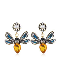 Fashion Yellow Diamond Pearl Insect Flower Alloy Hollow Earrings