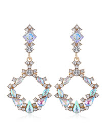Fashion Colored Diamonds Diamond-shaped Geometric Round Alloy Hollow Earrings