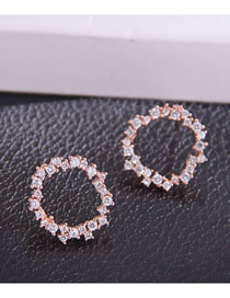 Fashion Rose Gold Micro-set Zircon Geometric Round Hollow Alloy Earrings