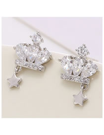 Fashion Silver Micro-set Zircon Crown Five-pointed Star Alloy Earrings