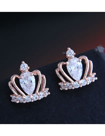 Fashion Rose Gold Copper Micro-set Zircon Crown Hollow Earrings