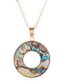 Fashion Golden Shell Round Alloy Hollow Necklace