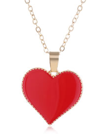Fashion Red Contrast Love Dropping Alloy Necklace