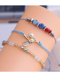Fashion Blue Stone Flower Pearl Crystal Three-layer Bracelet