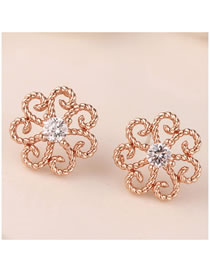 Fashion Rose Gold Hollow Alloy Earrings With Diamond Flowers