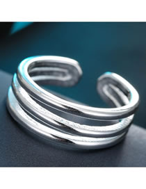 Fashion Silver Hollow Alloy Wide Open Ring