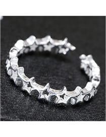 Fashion Silver Star Cutout Alloy Open Ring