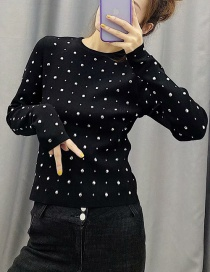 Fashion Black Studded Crew Neck Sweater
