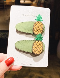 Fashion Green 1 Pair Pineapple Contrast Leather Children's Hair Clip