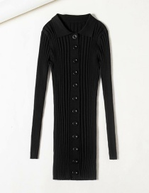 Fashion Photo Color Single-breasted Polo Collar Knit Dress