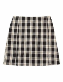 Fashion Black Plaid Split Skirt (without Safety Pants)