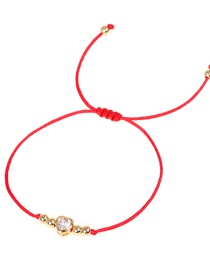 Fashion Red Peach Heart Micro Inlaid Zircon Woven Pull Bracelet