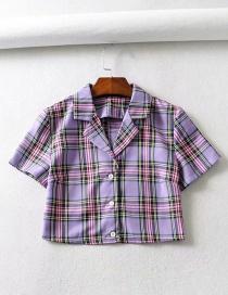 Fashion Purple Plaid Printed Short Sleeve Suit