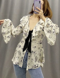 Fashion Beige Bow Flower Print V-neck Lace Shirt